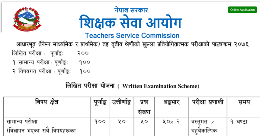 Shikshak Sewa Aayog primary Level and Lower Secondary Exam Curriculum. You Can Find TSC primary Level and Lower Secondary level Exam Curriculum